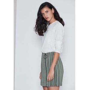 The Fifth Label Skirts - Olive Green Striped Zip Detail Mini Skirt